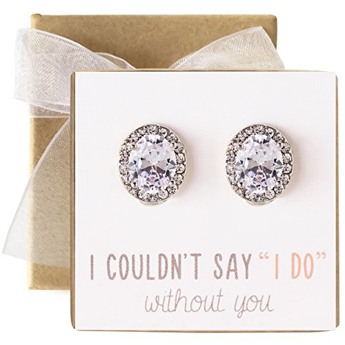 Wedding Bridesmaid Stud Earrings, Bridal Party Gift in Silver or Rose Gold (Clip-on Earrings, Silver) by AMY O