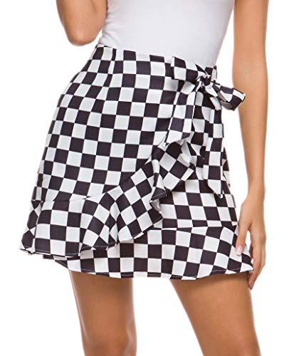 - DREAGAL Women's Ruffle Checkerboard Skirt Checkered Mini Pencil Skirt Black&White XL
