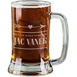 AnnaStoree 16 Oz Personalized Beer Mugs Etched Engraved with BEAUTY IS IN THE EYE OF THE BEER HOLDER JAC VANEK Glass Beer Mugs for Men Gift offers