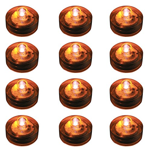 Lumabase 68712 12 Count Submersible LED Lights, Orange