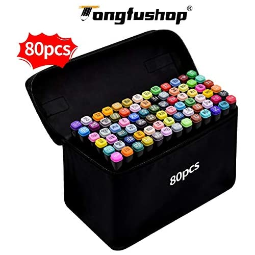 chollos oferta descuentos barato Rotulador de 80 Colores Marker Pen Marcadores Manga Creativos de Certificación SGS Rotulador Alcohol de Punta