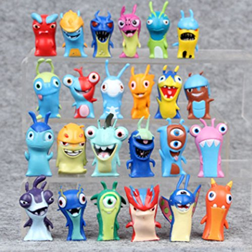 24 Pcs Trolls dolls, Anime Cartoon Mini Slugterra PVC Action Figures Toys, Cake topper Decorations, 2