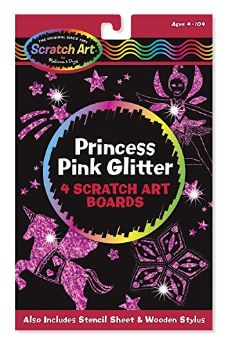 Melissa & Doug Scratch Art: Princess Pink Glitter Board - 4 Scratch Art Boards - Scratch Glitter