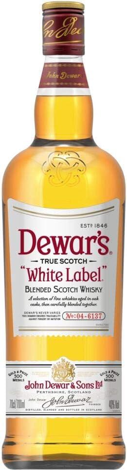 DEWARS Whisky Escocés, White Label 5 Años Doble Envejecimiento para Mayor Suavidad , 700ml