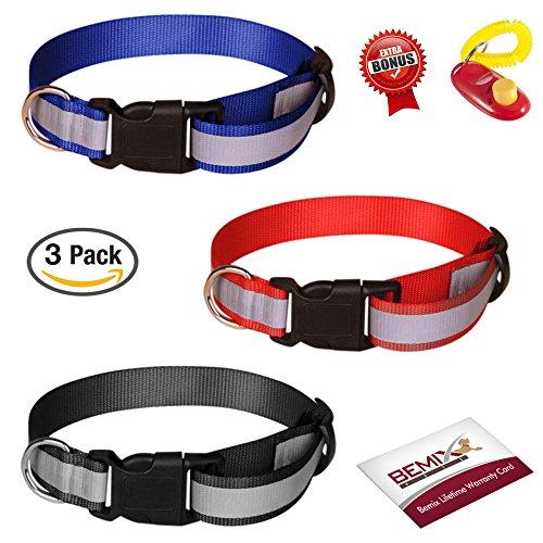 Reflective Dog Collar, Set Of 3, Solid, Nylon Dog Collars
