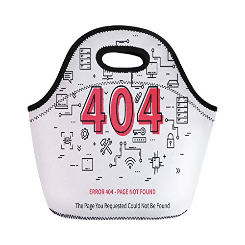 Semtomn Lunch Tote Bag Error 404 Page Datacenter Server Broken Graphic Not Found Reusable Neoprene Insulated Thermal Outdoor Picnic Lunchbox for Men Women