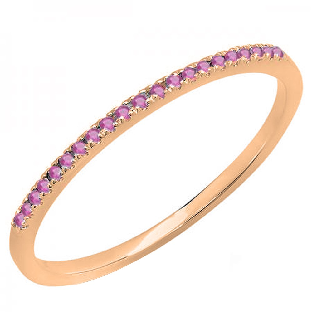 10K Rose Gold Round Cut Pink Sapphire Ladies Anniversary Wedding Band Stackable Ring (Size 7)