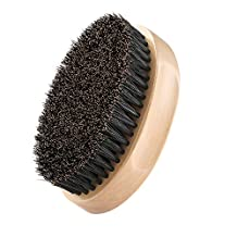 Wooden Beard Brush, PLEMO Boar Bristle Brush Best Facial Hair Comb for Mustache Conditioning Styling & Maintenance, Oval shaped