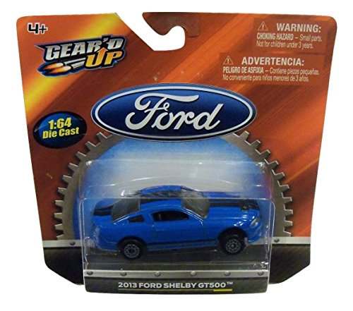 Gear'd Up Officially Licensed Ford 1:64 Die-cast Vehicle ~ 2013 Ford Shelby GT500 (Blue with Dual Black Racing (Shelby Gt500 Replica)