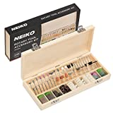 Neiko 50493A Rotary Tool Accessory Kit | 228-Piece Assortment Set with Wooden Organizer Case | 1/8-Inch Shank
