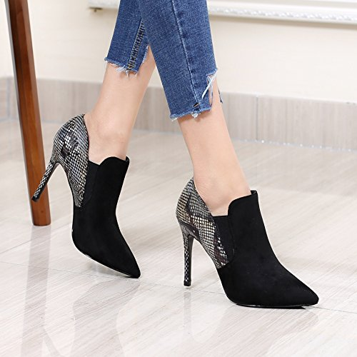 Temperament Black Elastic KPHY Down Sexy High Broken Skin Band Of Occupational Single Foot Mouth Shoes Shoes Footwear Heeled Texture 9 Set Stitching The By In Beige 5Cm Tips pRRzw