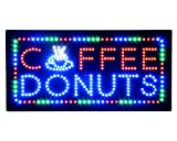 Hidly LED Coffee Donuts Cafe Espresso Open Light Sign Super Bright Electric Advertising Display Board Message Business Shop Store Window Bedroom 19 x 10 inches