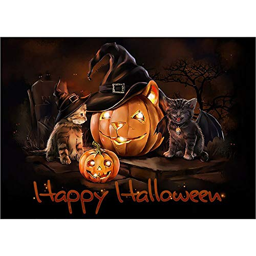 5D Diamond Painting Kits Bazahy Halloween Pumpkin Head Devil Kitten Paintings Rhinestone Pasted DIY Diamond Painting Cross Stitch Home Decor Gift (A) ()