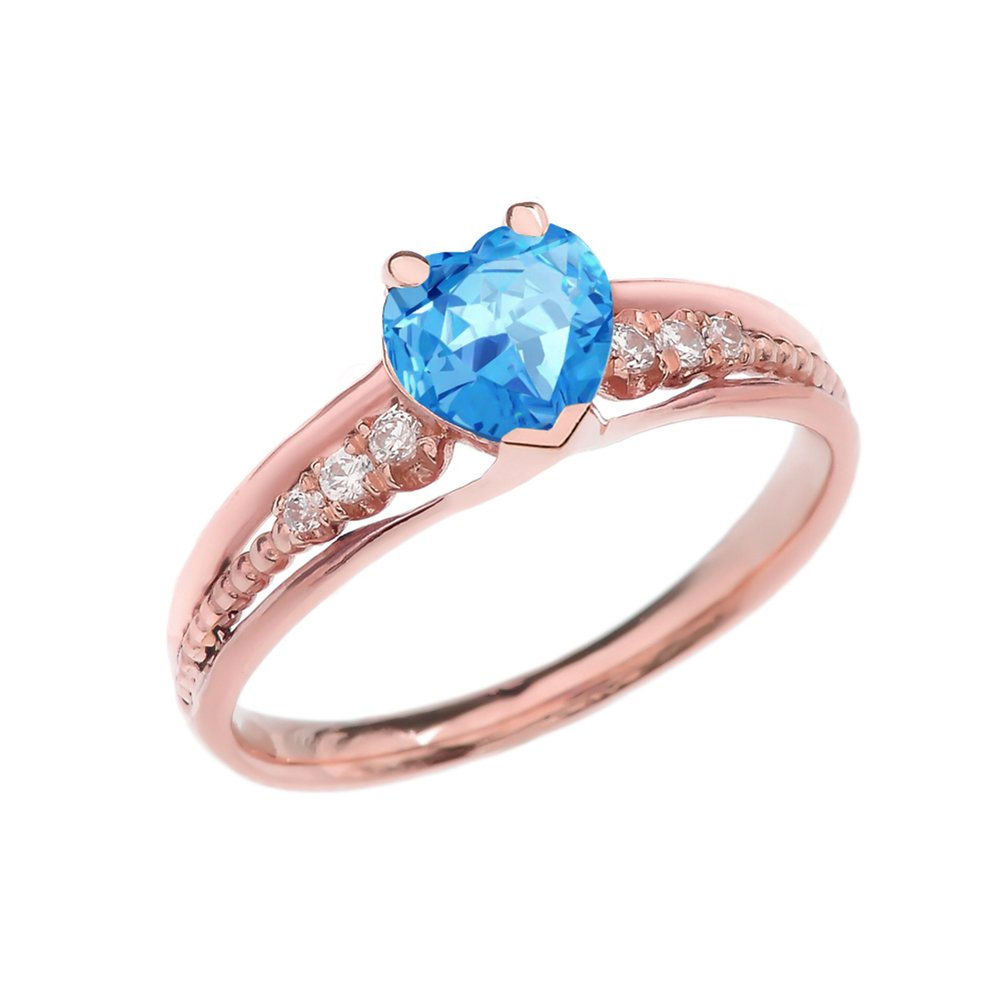 Dazzling 14k Rose Gold Diamond And Blue Topaz Birthstone Heart Beaded Promise Ring (Size 7)