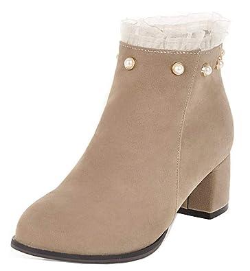 Easemax Femme Spécial Perles Talon Bloc Chunky Low Boots Fille Bottines  Abricot 34 EU 21a3793c96ea