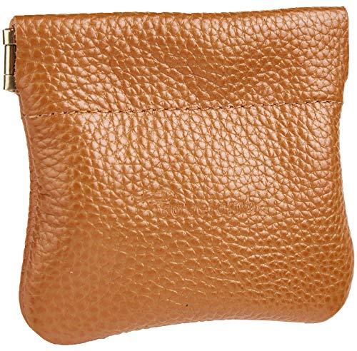 Travelambo Leather Squeeze Coin Purse Pouch Change Holder For Men & Women (Pebble Brown Light)