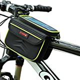 DRUnKQUEEn Waterpoof Frame Front Tube Pannier Bike Bicycle Cycling Saddle Bag by with Detachable CellPhone Case Touchscreen Pouch Holder & Reflective Stripe