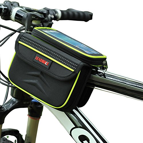 Mountain Pannier - DRUnKQUEEn Waterpoof Frame Front Tube Pannier Bike Bicycle Cycling Saddle Bag by with Detachable Cellphone Case Touchscreen Pouch Holder & Reflective Stripe