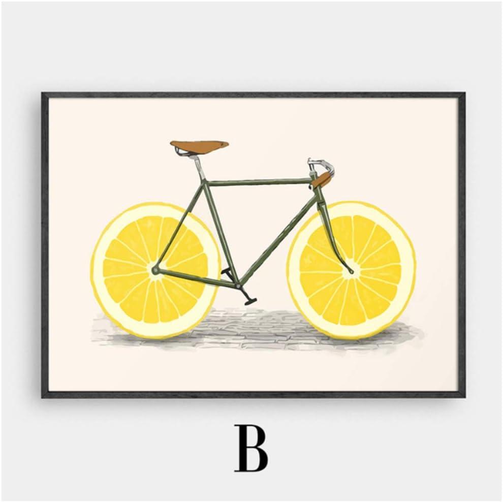 LIPENGYU Arte de la Pared Bicicleta Ácido Fruta Cuadros Cartel Vintage Lienzo nórdico Pintura Carteles e Impresiones Imágenes para la decoración de la Sala de Estar 19.6