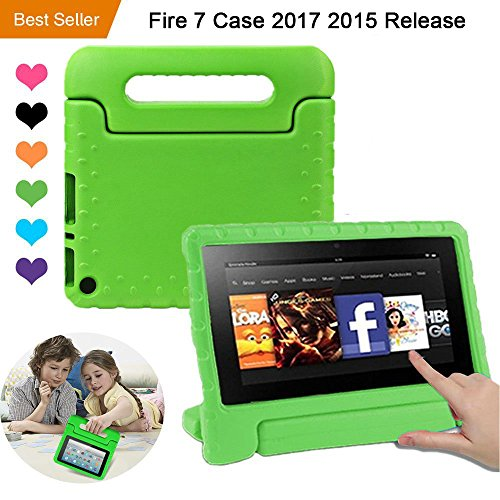 CAM-ULATA Amazon Fire 7 2017 2015 Case Kids 7inch shockproof Kid proof with Stand Kindle 5th 7th Cover Green for Boys Girls Teens