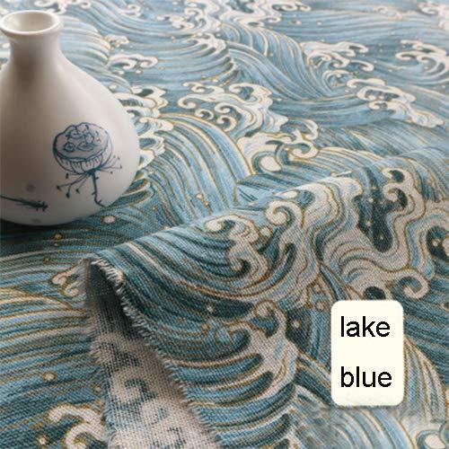 (Sheicon Cotton Linen Fabric Burlap DIY Material Sofa Pillow Curtain Cushion Tablecloth by The Metre 100x150cm Color Lake Blue Size 2 metres)