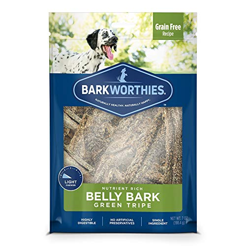 Barkworthies Green Tripe Belly Bark - Grain Free Recipe - All-Natural Healthy Dog Chews - Nutrient Rich and Single Ingredient with Real Lamb Protein (7oz) ()