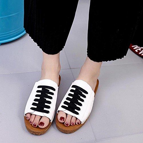 Heart&M Ocasional del verano antideslizante plana talón plano inferior con cordones de las mujeres sandalias de los deslizadores de talón abierto Black