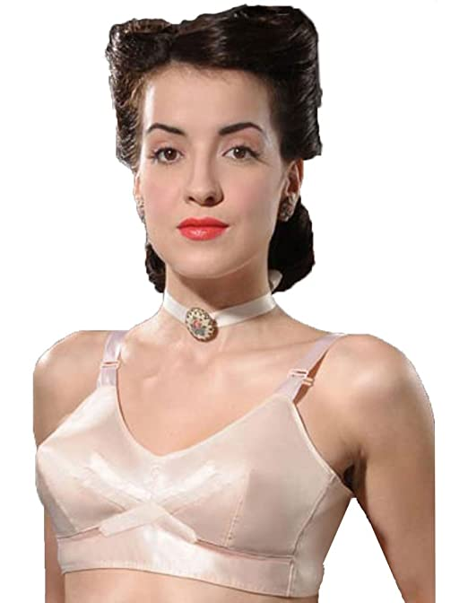 Retro Lingerie, Vintage Lingerie, New 1950s,1960s, 1970s What Katie Did 1940s Vintage Peach Bullet Bra L6036 £37.00 AT vintagedancer.com