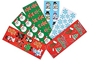 Rhode Island Novelty Christmas Holiday Sticker Assortment~Almost 2000 Stickers~Gingerbread Man, Santa, Snowflake, Penguin, Christmas Tree, Candy Cane, Snowman, Christmas Stocking and More....