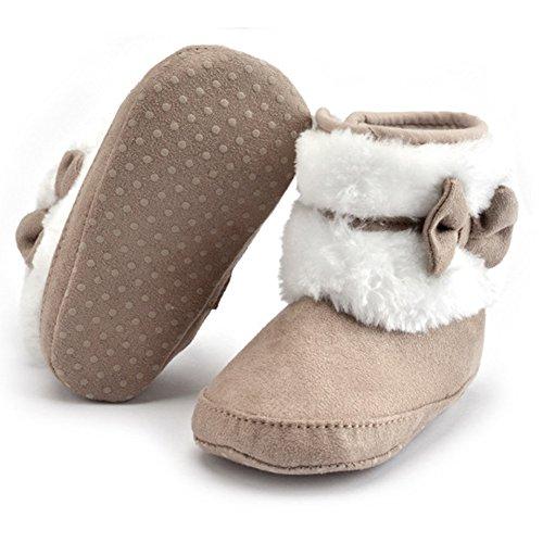 Minetom Winter Mädchen Baumwolle Martin Stiefel Kurzschaft Schuhe Weicher Lauflernschuhe Krabbelschuhe Babyschuhe Kleinkind 6-18 Monate Shoes Bootie Khaki