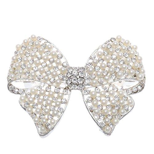 - Binmer(TM)Women Shine Rhinestone Girls Hairpin Bowknot Pearl Hair Clip Summer Joker Barrettes Headwear Accessories (Silver)