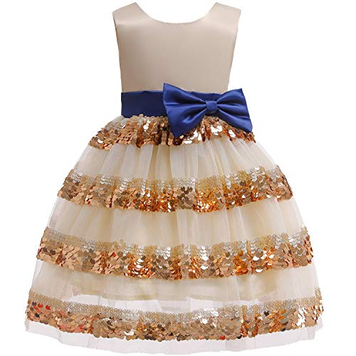 Girls Dress Backless Floral Flare Sleeve Bow Kids Dresses for Girls Princess -