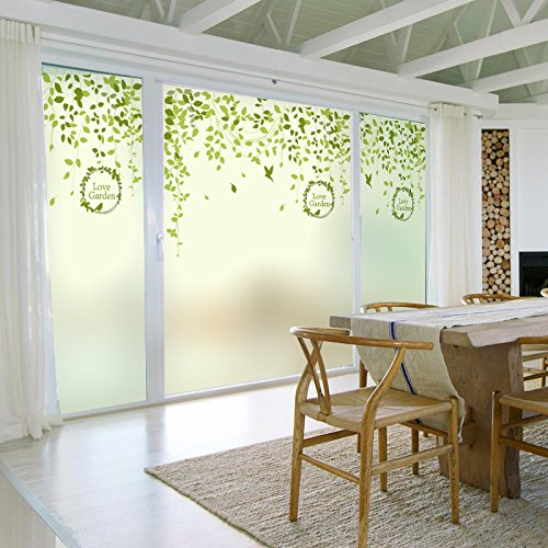 - ASIBG Home Green Curtain Hazy Window Stickers Office Bathroom Toilet Door Glass Film Light Transparent Window Film,Frosted Electrostatic Width 80Cm× High 120Cm