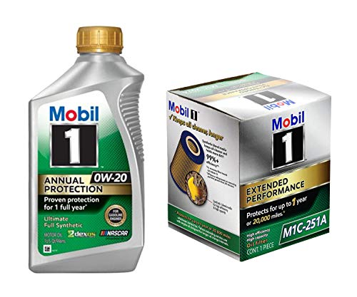 Mobil 1 Annual Protection Synthetic Motor Oil 0W-20, 1-Quart, Single Bundle 1 Extended Performance Oil Filter, M1C-251A, 1-Count