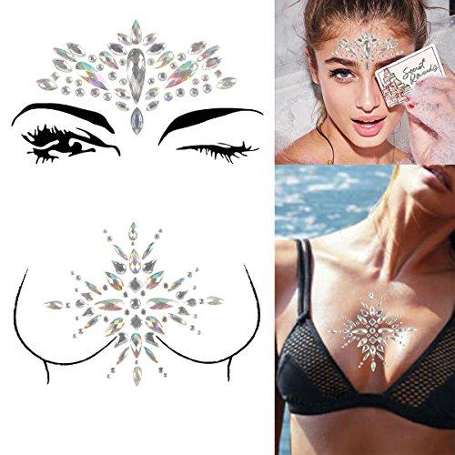 COKOHAPPY 2 Sheet Rhinestone Breast & Face Jewels Tattoo - BODY STICKERS Crystal Gem Stones Bindi Temporary Stickers