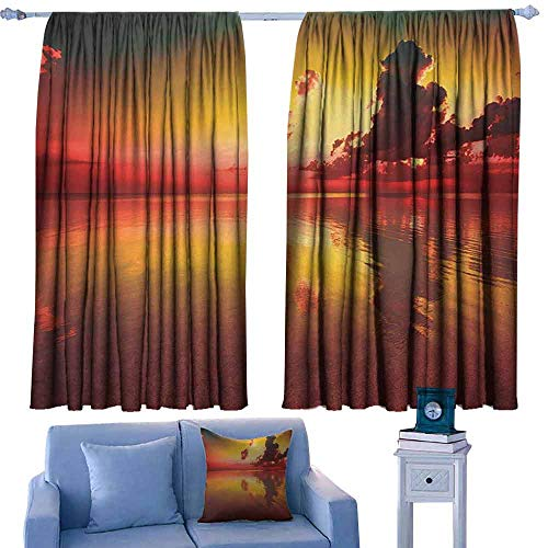 - Mannwarehouse Americana Curtain for Kids Sunrise Over Sea Water Reflection Cloudy Horizon Morning View Privacy Protection 63