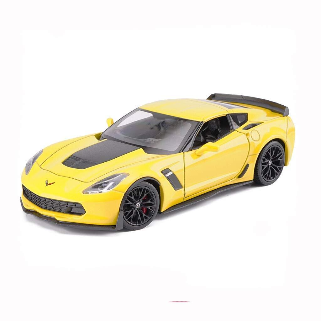 entrega gratis KKD Escala Modelo Simulación Simulación Simulación Vehículo Yanhong Modelo de Coche 1 24 Chevrolet Modelo Sports Car Corvette Z06 Aleación de Zinc Modelo de Simulación de Coche Colección Decoración ( Color   amarillo )  calidad de primera clase