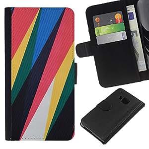 iBinBang / Flip Funda de Cuero Case Cover - Motif de plastique minimaliste Rouge Jaune - HTC ONE M7