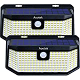 Aootek 120 Led Solar outdoor motion sensor lights upgraded Solar Panel to 15.3 in2 and 3 modes(Security/ Permanent On all night/ Smart brightness control )with IP65 Waterproof with Wide Angle(2pack)