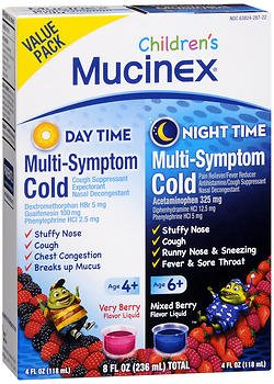 Mucinex Children's Daytime & Night Time Multi-Symptom Cold Liquid Very Berry & Mixed Berry - 8 oz, Pack of 4