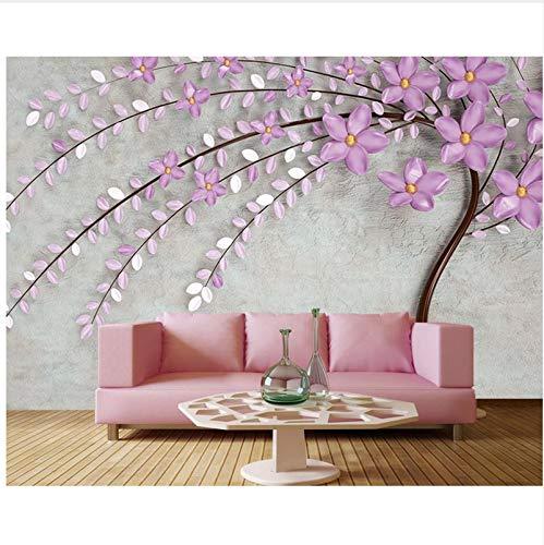 Wh Porp 3d Lila Tapete Elegante Lila 3d Baum Blume Wohnzimmer Tv
