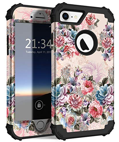 - Hocase iPhone 7/8 Case, Heavy Duty Shockproof Protection Hard Plastic+Soft Silicone Rubber Bumper Hybrid Dual Layer Protective Case for iPhone 7/iPhone 8 with 4.7-inch Display - Peony Flowers/Black