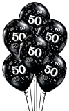 Arts & Crafts : Qualatex 50-A-Round Biodegradable Latex Balloons, Onyx Black with White Prints All-Around, 11-Inch (10-Units)