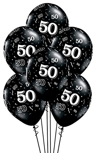 Qualatex 50-A-Round Biodegradable Latex Balloons, Onyx Black with White Prints All-Around, 11-Inch (10-Units)