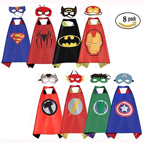 [Mizzuco 8pcs Comics Cartoon Dress Up Costumes Satin Capes with Felt Masks] (Superheroes For Kids)