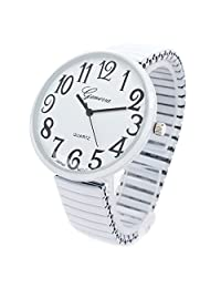 White Super Large Face Stretch Band Fashion Watch - Free Shipping by Geneva