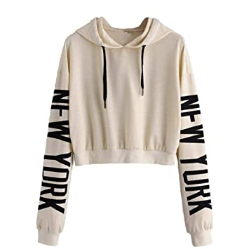 Clearance!Youngh New Women Print Letters Solid Sweatshirt Loose Long Sleeve Hoodie Sweatshirt Casual Fashion