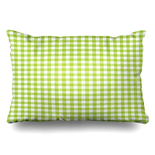 Ahawoso Throw Pillow Cover King 20x36 Thread Abstract Gingham Pattern Lime Green Vintage Birthday Celebration Check Chequered Chevron Contrast Zippered Cushion Case Home Decor Pillowcase ()
