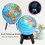 Caveen Educational Globe For Kids Self Rotating World Globe with Stand Globe World Map for Desktop Office Home Decor Black 11cm/4.3in