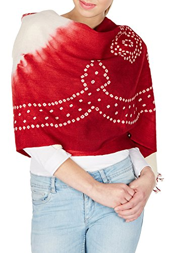 Maroonred Cream Handmade Shawls For Women, Woolen Tie Dye From India Gifts 36X80 by ShalinIndia